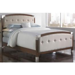 Genesis Dark Walnut and Cream King Ornamental Panel Bed
