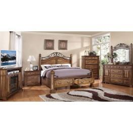 Barclay Rustic Acacia Poster Storage Bedroom Set