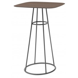 Barrique Walnut Top Bar Table with Anthracite Frame