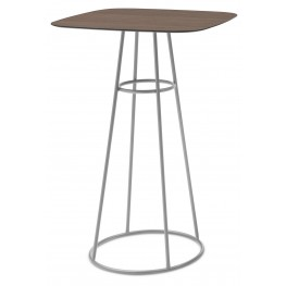 Barrique Walnut Top Bar Table with Satinated Aluminum Base