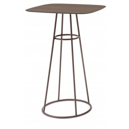 Barrique Walnut Top Bar Table with Bronze Base