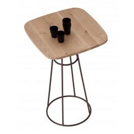 Barrique Wild Oak Top Bar Table with Bronze Base