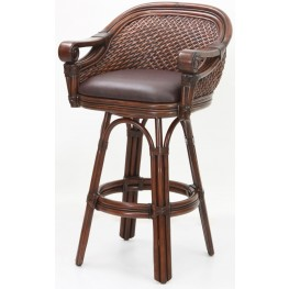 "Decorative Arm 26"" Rattan Frame Stool"