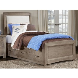 Transitions Driftwood Oak Twin One Side Storage Upholstered Panel Bed