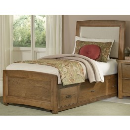 Transitions Dark Oak Twin One Side Storage Upholstered Panel Bed