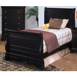 Belle Rose Black Cherry Twin Sleigh Bed