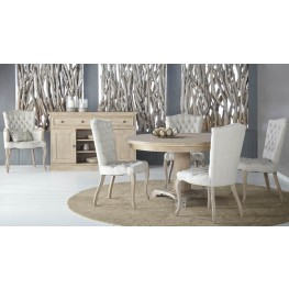 """Belmont Stone Wash 54"""" Round Pedestal Dining Room Set with Henri Side Chairs"""