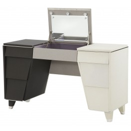 Beverly Boulevard Pearl Caviar Upholstered Vanity with Mirror
