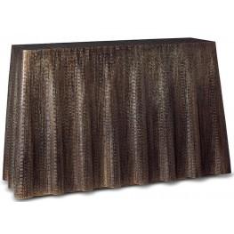 Bijou Antiqued Brass Drape Console Table