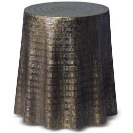 Bijou Antiqued Brass Drape End Table