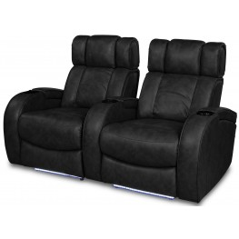 Andromeda Black Leather Gel Power Reclining 2 Seats Home Theater Seating RO8