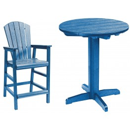 "Generations Blue 32"" Round Pedestal Pub Set"