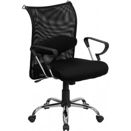 Mid-Back Manager's Chair with Black Back and Padded Seat