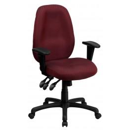 High Back Burgundy Ergonomic Task Arm Chair