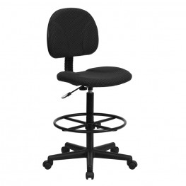 Black Patterned Multi Functional Ergonomic Drafting Stool (Adjustable Range 26''-30.5''H or 22.5''-27''H)