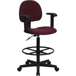 Burgundy Multi Functional Ergonomic Drafting Stool with Arms (Adjustable Range 26''-30.5''H or 22.5''-27''H)
