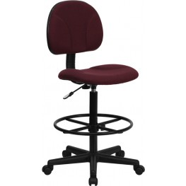 Burgundy Multi Functional Ergonomic Drafting Stool (Adjustable Range 26''-30.5''H or 22.5''-27''H)