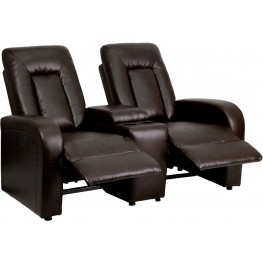 Eclipse Series Automated Brown Leather 2-Seat Reclining Theater Seating