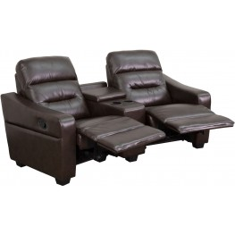 Futura Series 2-Seat Reclining Brown Leather Theater Seating