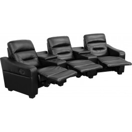 Futura Series 3-Seat Reclining Black Leather Theater Seating