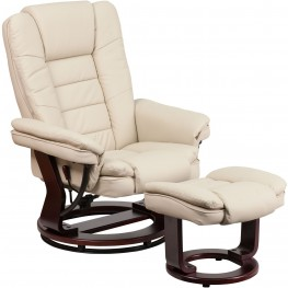 Beige Recliner & Ottoman with Swiveling Mahogany Wood Base