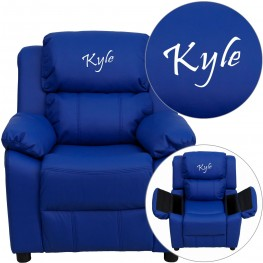 Deluxe Padded Blue Kids Recliner with Text Applique on Headrest