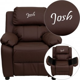 Deluxe Padded Brown Kids Recliner With Applique Headrest (Min Order Qty Required)