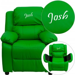 Deluxe Padded Green Kids Recliner With Applique Headrest (Min Order Qty Required)