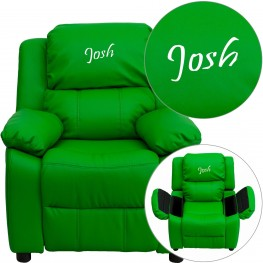 Deluxe Padded Green Kids Recliner With Text Applique On Headrest (Min Order Qty Required)