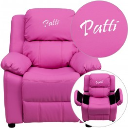 Deluxe Padded Hot Pink Kids Recliner With Applique Headrest (Min Order Qty Required)