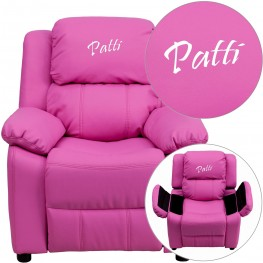 Deluxe Padded Hot Pink Kids Recliner With Text Applique On Headrest (Min Order Qty Required)