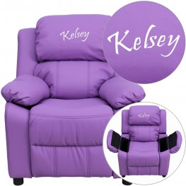 Deluxe Padded Lavender Kids Recliner With Applique Headrest (Min Order Qty Required)