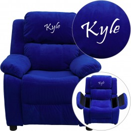 Personalized Deluxe Padded Blue Kids Recliner with Embroidered Applique Headrest