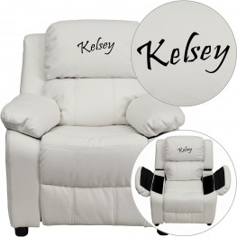 Deluxe Padded White Kids Recliner with Applique Headrest