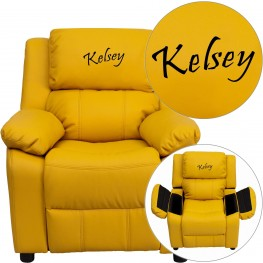Deluxe Padded Yellow Kids Recliner with Text Applique on Headrest