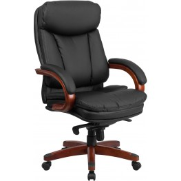 High Back Black And Wood Executive Swivel Office Chair (Min Order Qty Required)