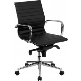 Black Ribbed Upholstered Conference Chair (Min Order Qty Required)