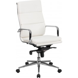 High Back White Bonded Leather Executive Swivel Office Chair with Synchro-Tilt Mechanism
