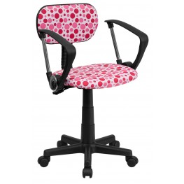 Printed Pink Dot Computer Arm Chair (Min Order Qty Required)