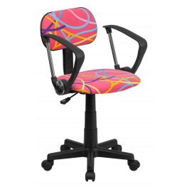 Multi Colored Swirl Printed Pink Computer Arm Chair (Min Order Qty Required)