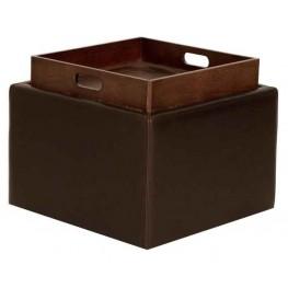 Butler Havana Leather Storage Ottoman
