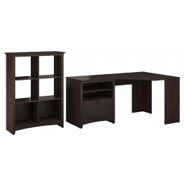 Buena Vista Madison Cherry Corner Desk With 6 Cube Storage