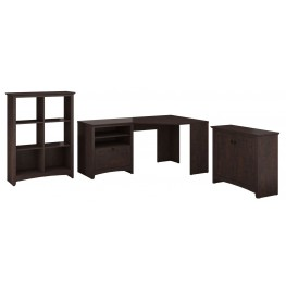 Buena Vista Madison Cherry Corner Desk With 6 Cube Storage And Lateral File