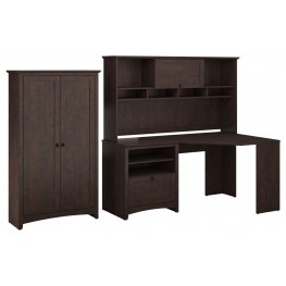 Buena Vista Madison Cherry Corner Desk & Hutch With Tall Storage