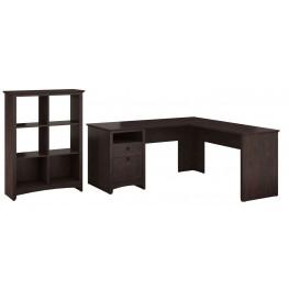 Buena Vista Madison Cherry L-Desk With 6 Cube Storage