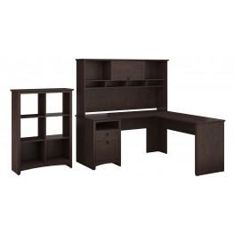 Buena Vista Madison Cherry L-Desk With Hutch & 6 Cube Storage
