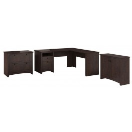 Buena Vista Madison Cherry L-Desk With Low Storage & Lateral File