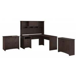 Buena Vista Madison Cherry L-Desk Hutch With Low Storage And Lateral File