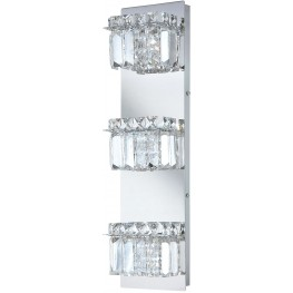 BV1103-0-15 Crown Chrome And Clear Crystal Glass 3 Light Vanity