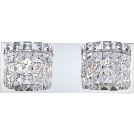 Rondell Chrome And Clear Crystal Glass 2 Light Vanity